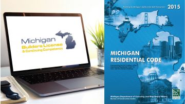 Advanced Michigan Builders Continuing Competency 3 Hour Mandatory Course Plus 2015 Michigan Residential Code Book